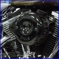 S&S Black Mini Teardrop Stealth Air Cleaner Kit For Harley-Davidson Twin Cam