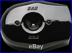 S&S Black Stealth Tribute Two Throat Intake Air Cleaner Filter Cover for Harley