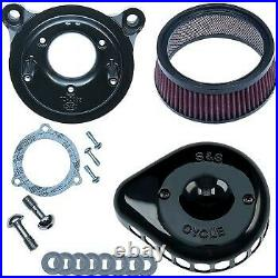 S&S Cycle Black Mini Teardrop Stealth Air Cleaner Kit for Touring 08-16