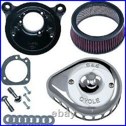 S&S Cycle Chrome Mini Teardrop Stealth Air Cleaner Kit for Harley Twin Cam