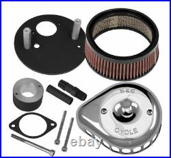 S&S Cycle Mini Stealth Air Cleaner Kit for Harley -Teardrop Chrome- 170-0445