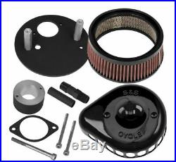 S&S Cycle Mini Stealth Air Cleaner Kit for Harley- Teardrop Gloss Blk- 170-0446