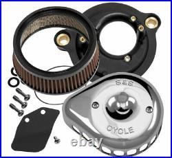 S & S Cycle Mini Stealth Air Cleaner Kits for Harley-Davidson 170-0435 Chrome