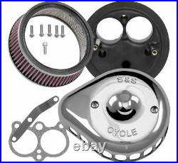 S & S Cycle Mini Stealth Air Cleaner Kits for Harley-Davidson 170-0443 Chrome