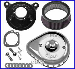 S & S Cycle Mini Stealth Air Cleaner Kits for Harley-Davidson 170-0449 Chrome