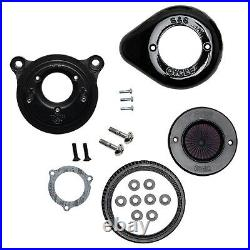 S&S Gloss Black Air Stinger Stealth Air Cleaner Kit Big Twin'01-'17